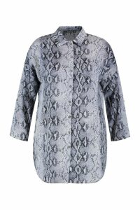 Womens Plus Snakeskin Oversized Shirt - grey - 16, Grey