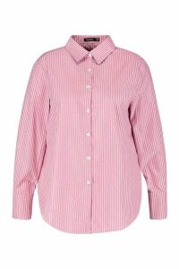 Womens Plus Stripe Cotton Oversized Boyfriend Shirt - red - 18, Red