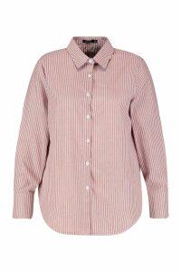Womens Plus Stripe Cotton Oversized Boyfriend Shirt - brown - 16, Brown