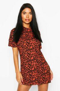 Womens Petite Rib Animal Print T-Shirt Dress - orange - 6, Orange