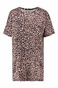 Womens Petite Leopard T-Shirt Dress - brown - 8, Brown