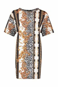 Womens Plus Chain printed T-Shirt Dress - black - 20, Black