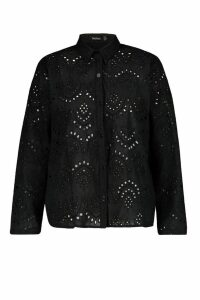 Womens Plus Broidere Oversized Shirt - black - 26, Black