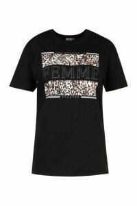 Womens Plus Femme Slogan Leopard Tshirt - black - 16, Black