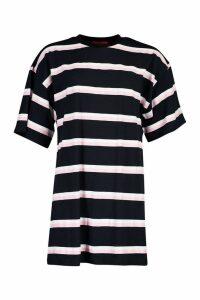 Womens Oversized Stripe T-Shirt Dress - navy - M/L, Navy