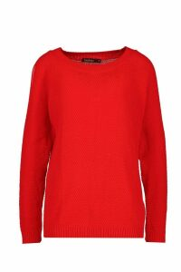 Womens Cold Shoulder Moss Stitch Jumper - red - M, Red