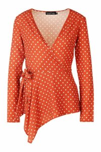 Womens Polka Dot Woven Wrap Tie Blouse - orange - 6, Orange