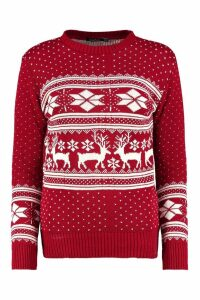Womens Reindeer Fairisle Christmas Jumper - red - M/L, Red