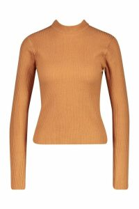 Womens Petite Ribbed Knitted High Neck Jumper - beige - M, Beige