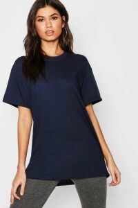 Womens Basic Oversized Boyfriend T-shirt - navy - M, Navy