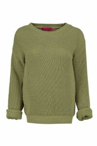 Womens Petite Oversized Jumper - green - 8, Green