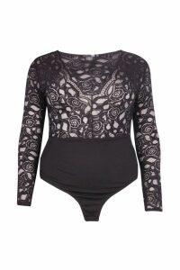 Womens Plus Plunge V Neck Lace Bodysuit - black - 22, Black