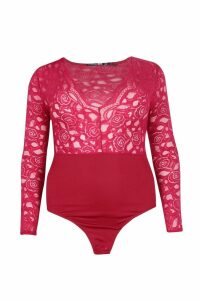 Womens Plus Plunge V Neck Lace Bodysuit - red - 24, Red