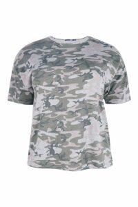 Womens Plus Camo Oversize T-Shirt - multi - 16, Multi