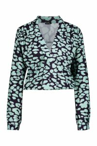 Womens Tall Plunge Leopard Satin Shirred Shirt - green - 6, Green