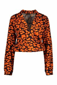 Womens Tall Plunge Leopard Satin Shirred Shirt - orange - 12, Orange