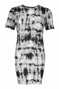 Womens Tall Tie Dye Celestial Print T-Shirt Dress - black - 8, Black