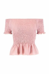 Womens Tall Off The Shoulder Shirred Top - Pink - 8, Pink