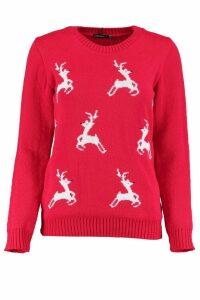 Womens Petite Reindeer Christmas Jumper - red - 6, Red