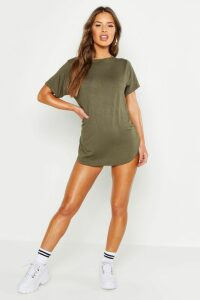 Womens Petite Curved Hem T-shirt Dress - green - 8, Green