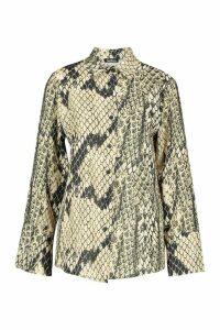 Womens Tall Snake Print Woven Shirt - beige - 8, Beige