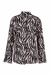 Womens Tall Zebra Print Shirt - Beige - 8, Beige
