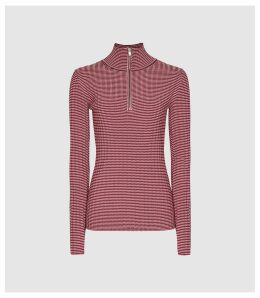 Reiss Finley - Striped Zip Neck Top in Red, Womens, Size XXL