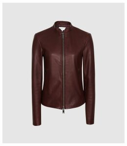 Reiss Allie - Leather Collarless Biker Jacket in Pomegranate, Womens, Size 14