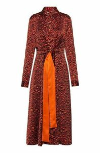 Leopard-print shirt dress with integrated belt