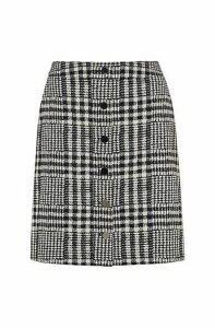 A-line mini skirt in checked fabric with buttoned front