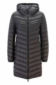 Hooded puffer coat with degradé quilting