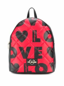 Love Moschino quilted-effect logo print backpack - Black