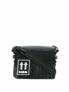 Off-White fringed flap shoulder bag - Black