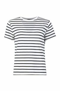 Womens Tall Cotton Stripe Boxy T-Shirt - white - 14, White