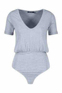 Womens Tall V Neck Oversized T-Shirt Bodysuit - grey - 12, Grey