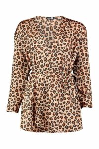 Womens Tall Woven Leopard Wrap Tie Waist Blouse - beige - 16, Beige