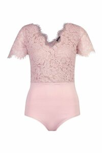 Womens Tall Short Sleeve Eyelash Lace Bodysuit - pink - M, Pink