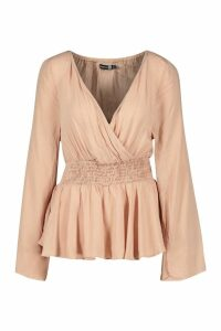 Womens Tall Ruched Long Sleeve Peplum Blouse - pink - 10, Pink