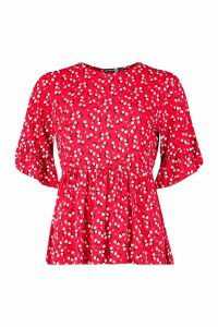 Womens Tall Ditsy Floral Smock Top - red - 16, Red