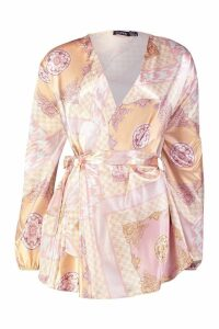 Womens Tall Scarf Print Wrap Top - pink - 12, Pink