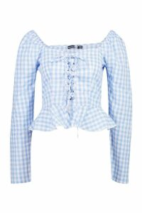 Womens Tall Gingham Lace Up Peasant Top - blue - 14, Blue