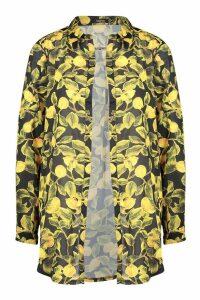 Womens Lemon Print Beach Shirt - black - 16, Black