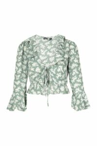 Womens Tall Floral Print Ruffle Lace Up Blouse - green - 16, Green