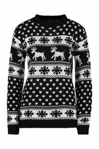 Womens Reindeer & Snowflake Christmas Jumper - black - M/L, Black