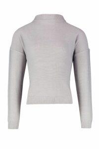 Womens roll/polo neck Jumper - grey - M, Grey