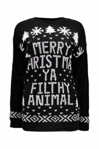 Womens Merry Christmas Ya Filthy Animal Jumper - black - M/L, Black