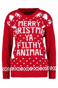 Womens Merry Christmas Ya Filthy Animal Jumper - red - M/L, Red