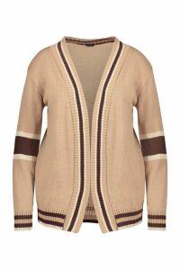 Womens Plus Contrast Stripe Cardigan - beige - 18, Beige