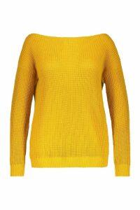 Womens Plus Slash Neck Oversized Jumper - yellow - 16, Yellow
