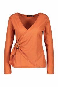 Womens Rib Knit Buckle Detail Top - orange - 10, Orange